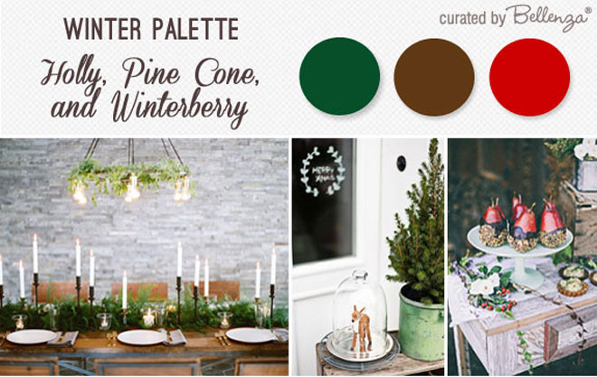 Holly, pine cones, and berries inspiration board.