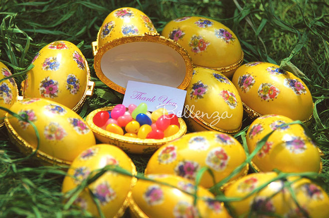Yellow Easter favors for guests at a spring bridal shower or garden reception.