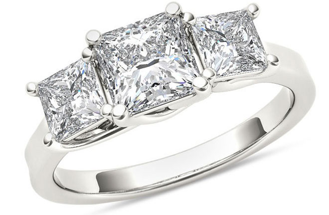 2 CT. T.W. Princess-Cut Diamond Three Stone Ring in 14K White Gold via Zales